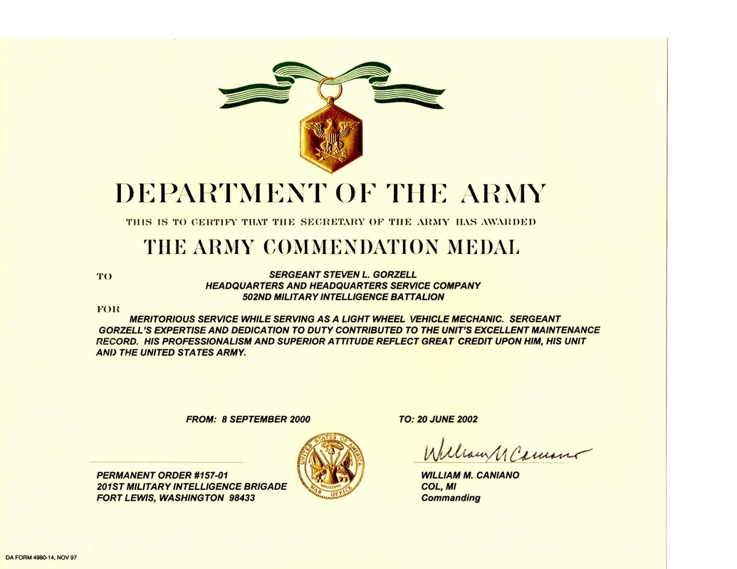Military awards certificates and training steven lee for Usmc certificate of commendation template
